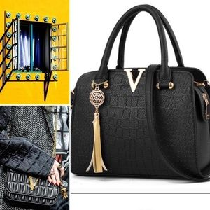Handbags - Croc Satchel Purse, top handle + crossbody strap